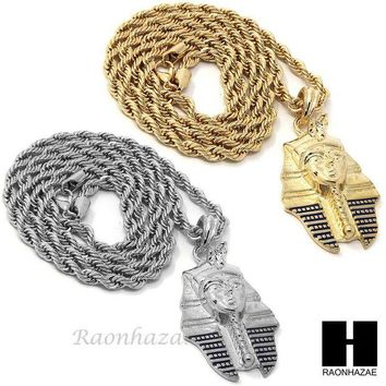 DCCKH7E MENS HIP HOP ICED OUT PHARAOH KING-TUT CZ PENDANT 24' ROPE CHAIN NECKLACE N029