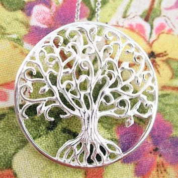 Curlicue Branches Large Tree of Life Medallion Necklace in Sterling Silver