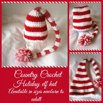 Crochet Elf Hat newborn to adult, Christmas Hat, ,stocking hat, Striped Cap,  great gift idea