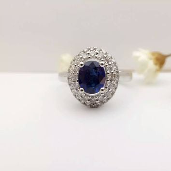 1.18ct+0.555ct 18K Gold Natural Sapphire Women Ring with Diamond Setting 2016 New Fine Jewelry Wedding Band Engagement