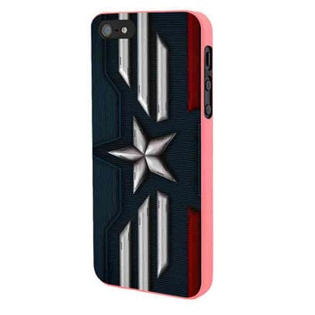 Captain America Winter Soldier Logo iPhone 5 Case Framed Pink
