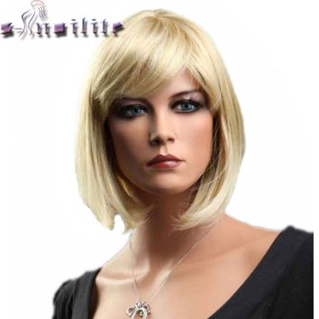 S-noilite Short Straight Hair Wig Black Brown Blonde Red Women Synthetic Full Head Wigs With Flat Bangs Heat Resistant