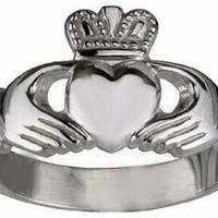 White Gold plated over sterling silver Buffy The Vampire Slayer Claddagh ring
