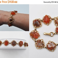 ON SALE Vintage Gold & Carnelian Agate Link Bracelet, Red Agate, Banded Agate, Tumbled Stone, Filigree Link, Chunky, Gorgeous Colors! #b473