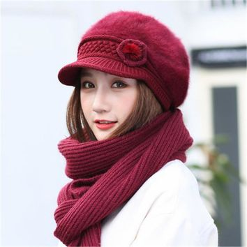 Rabbit Woolen Hat Female Winter Scarf  Cap Hooded solid color wirh rose knitted Rack girls beanies women collars hats set