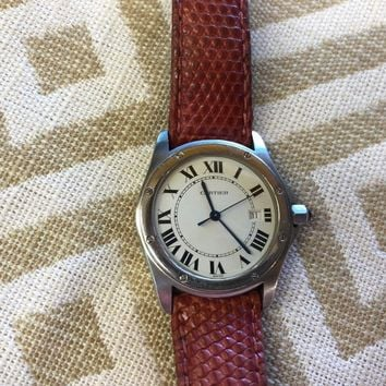 CARTIER LADIES WATCH 15611 WITH A LATHER BRACELET