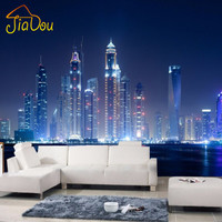 Custom Mural European City Building Living Room TV Sofa Background Wallpaper Black And White New York Night 3D Photo Wallpaper