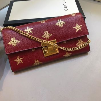 Kuyou Gb99822 Gucci 453506 Bee Star Red Leather Chain Wallet With Gold Clasp 19x11x3cm