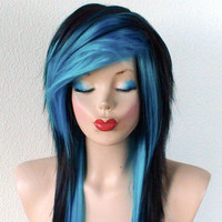 Scene wig. Emo hair Black / Turquoise wig.  Black turquoise Long straight hair wig.