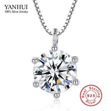 Promotion!!! Fine Jewelry Hearts and Arrows 8mm 2 Carat CZ Diamant Pendant Necklace 925 Sterling Silver Necklace Women BKN001