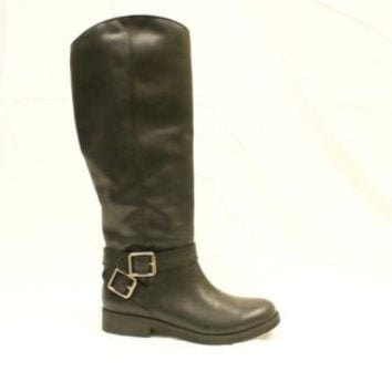 Lucky Brand Falta Black Winter Haze Leather Tall Riding Boot Women 6 M