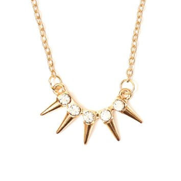 Crystal Spikes Pendant Necklace Studs Gold Tone NJ54 Fashion Jewelry