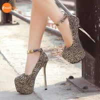 Leopard Club Ankle Strap Pump High Heels