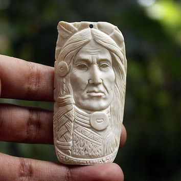 "Hand Carved Indian 2.8"" Natural Buffalo Bone Pendant BP9018"