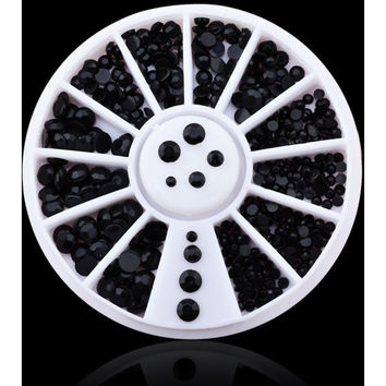DIY 3D NAIL ART DECORATIONS BLACK 2MM 3MM RHINESTONE WHEEL NAIL SUPPLIES