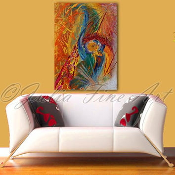 Large Abstract Print, Colorful Art, Orange Painting, Gold Print, Yellow, Green, Orange Abstract, Blue, Red, Modern Wall Decor, Living Room
