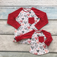 Valentine's Day mother &baby girls red heart print family look cute cotton boutique top T-shirt reglans clothing ruffles pocket