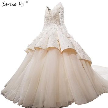 Fashion Sexy V-Neck Long Sleeves Wedding Dresses 2018 Newest Flowers Crystal High-end Custom Luxury Bridal Gown Real Photo