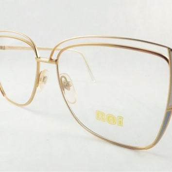 Womens Big Eyeglasses, Gold Metal and White Blue, Funky Vintage Frames, Retro Mod Glasses