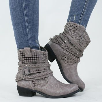 Ankle Wrap Buckle Boots