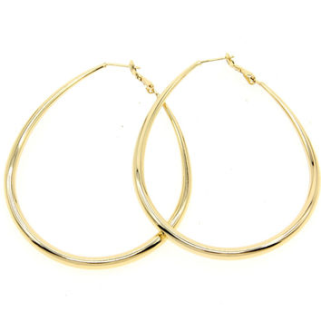 Fashion Female Jewelry 50mm Diameter Faceted Alloy Water Drop Hoop Earrings Gold and Silver Colors Costume Jewelry FE043