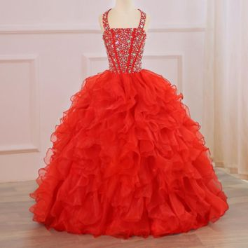 Red Flower Girls Dresses for Wedding Kids Pageant Dress First Holy Communion Dresses Beaded Crystals Party Prom Dress