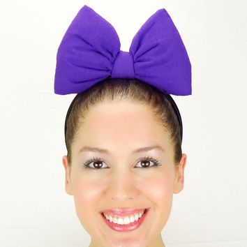 Big Daisy Duck Bow Headband - Purple