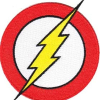 The Flash Iron-On Patch Round Bolt Logo