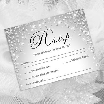 DIY Printable Wedding RSVP Template | Editable MS Word file | 5.5 x 4.25 | Instant Download | Silver Diamond Shower