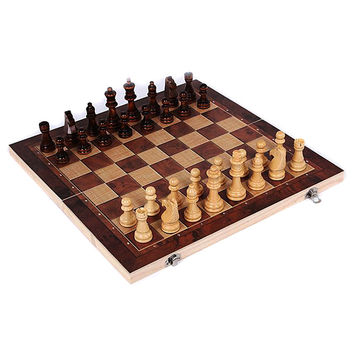 New Design 3 in 1 Wooden International Chess Set Board Travel Games Chess Backgammon Draughts Entertainment VF060 T15 0.5