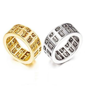 Luxury Fashion Men Women Abacus Ring Maths Number Jewelry Gold Silver Titanium Stainless Steel Charm Wedding Finger Rings Gifts
