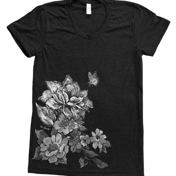 FLORAL PRINT Shirt Women Custom Hand Screen Printed on American Apparel Tri-Blend Short Sleeve Tshirt Available: S, M, L, XL