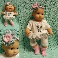 "15 inch Baby Doll ""Lil' Gray Puppy"" doll outfit Will fit Bitty Baby® Bitty Twins®  dress shorts socks headband"