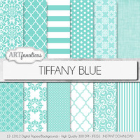 "Tiffanys blue paper ""TIFFANY BLUE"" featuring elegant designs in Tiffany blue, quatrefoil, damask, weave, polkadots, stripes, and more"
