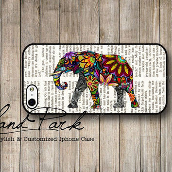 Elephant on Newspaper iPhone 5 Case, iPhone Case, Case for iPhone 5, iPhone 5 Cover, iPhone Hard Case
