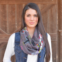 Charcoal Sugar Skull Infinity Scarf