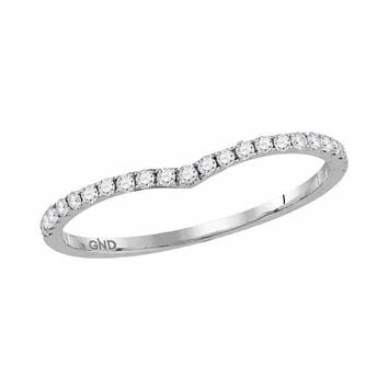 14kt White Gold Women's Round Diamond Slender Chevron Stackable Band Ring 1-3 Cttw - FREE Shipping (US/CAN)