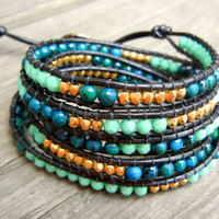 Beaded Leather Wrap Bracelet 5 Wrap with Gold Nuggets, Blue and Green Jasper Beads, and Green Turquoise Czech Glass Beads on Black Leather