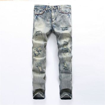 Mens Overalls Jeans Light Blue Brand Vintage designer Casual Hole Ripped Jeans Mens Fashion Denim Pants Silm Fit Male