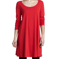 Scoop-Neck Long-Sleeve Tunic, Petite, Size: