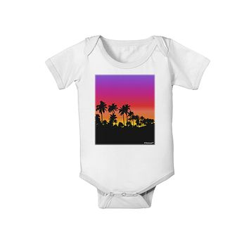 Palm Trees and Sunset Design Baby Romper Bodysuit by TooLoud