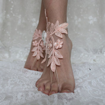 pink lace ,Beach Wedding Barefoot Sandals, french lace, Nude shoes, , Foot jewelry,Wedding, Lace,Shoes, Wedding Anklet , Belly Dance