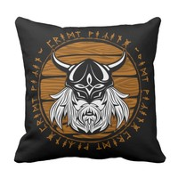 Intimidating Viking Warrior With Helmet and Mask Throw Pillow
