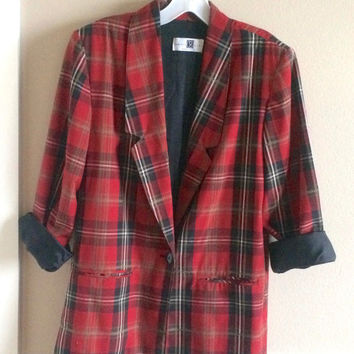 Vintage 80s Slouchy Jacket, 1980s Blazer, Red Plaid Boxy Jacket, Tartan Plaid, M-L