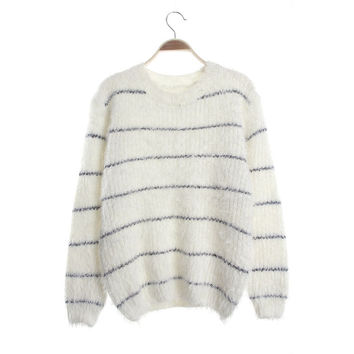 Winter Hot Sale Stripes Sea Sweater Star Feather Jacket [9176553988]