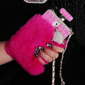 New Chic Luxury Elegant Furry Rabbit Fur Rhinestones Perfume Bottle Bling Head Mobile Cell Phone Case Cover for iPhone Samsung = 1931745476