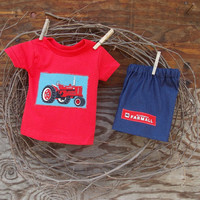 Baby Boys Clothes Red Tractor, denim shorts and red T shirt, 6 months, tractor appliques