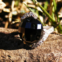 Black & White Rhinestone Cocktail Ring in Sterling Silver