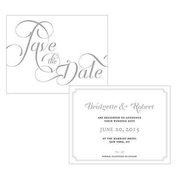 Expressions Save The Date Card Purple Text With White Background (Pack of 1)