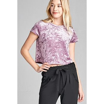 Ice Velvet Short Sleeve Crop Top
